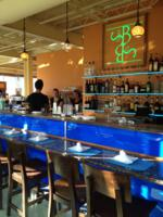 Brown Sugar by the Sea - Newburyport, Massachusetts Edge Lit Acrylic Logo, Illuminated Shelving, and Bar Lap Lighting