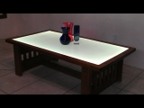 Wooden table with Inlaid color-changing LumaPex-White
